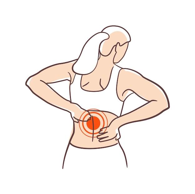 Giovane donna che soffre di sindrome da ufficio mal di schiena