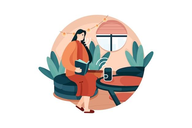 Assistente vocale di conversazione della giovane donna per accendere le luci e la tenda della casa