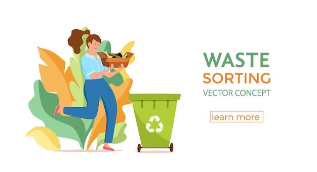 Giovane donna che getta immondizia di vetro nei contenitori. concetto di gestione dei rifiuti con ragazza ecologica che smista i rifiuti in diversi serbatoi