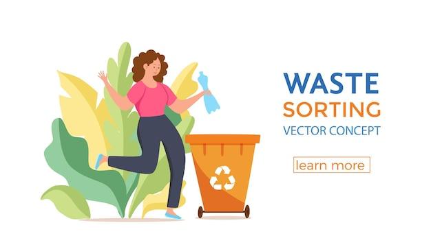 Giovane donna che getta immondizia di plastica nei contenitori. concetto di gestione dei rifiuti con ragazza ecologica che smista i rifiuti in diversi serbatoi