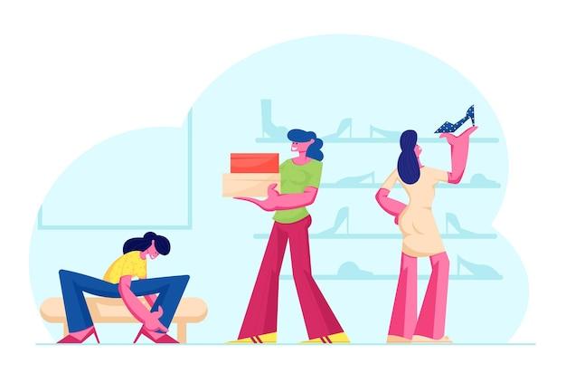Giovane donna che cerca su scarpe seduto sul divano vicino a scaffali con calzature in negozio