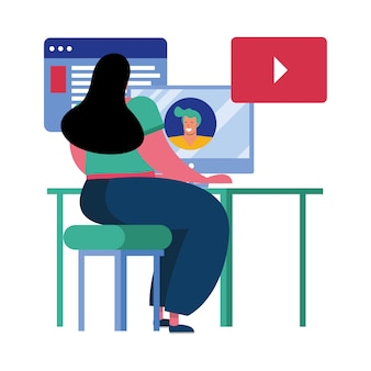 Giovane donna che utilizza il desktop collegamento tecnologia carattere illustrazione vettoriale design