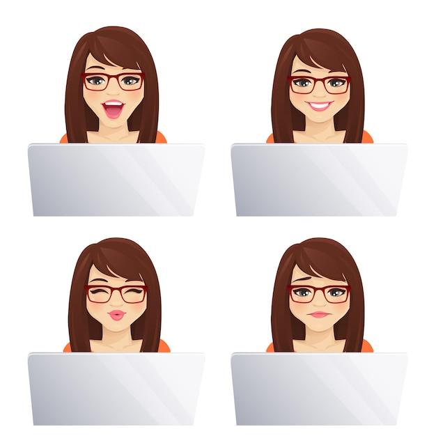 Giovane donna che utilizza un computer portatile con diverse espressioni facciali isolate