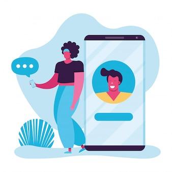 Giovane donna che usando smartphone