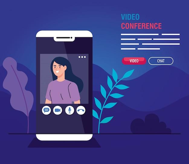 Giovane donna in videoconferenza in smartphone