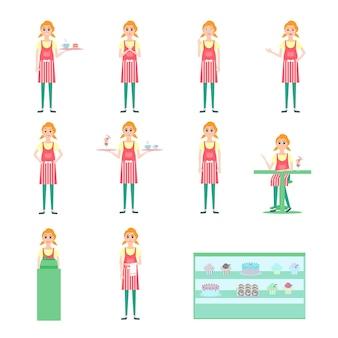 Giovane donna cameriera pasticcere cassiere, cassa, con vassoio, diverse emozioni del viso, illustrazione vettoriale, vetrina con muffin e ciambelle, collezione di personaggi