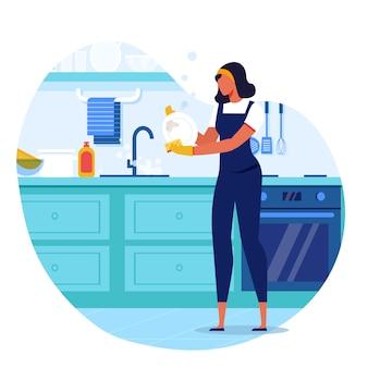 Illustrazione piana di vettore del piatto di lavaggio della giovane donna