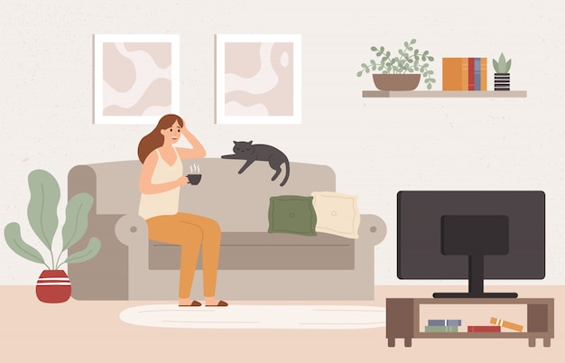 Giovane donna guarda la tv. ragazza sdraiata sul divano con una tazza di caffè e guardare la serie di programmi televisivi illustrazione vettoriale