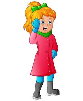 Giovane donna che indossa vestiti caldi con espressioni scioccate