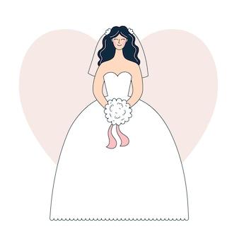 Giovane donna in abito da sposa bianco, sposa con un bouquet al matrimonio, celebrazione festiva. illustrazione vettoriale in stile contorno, doodle colorato.