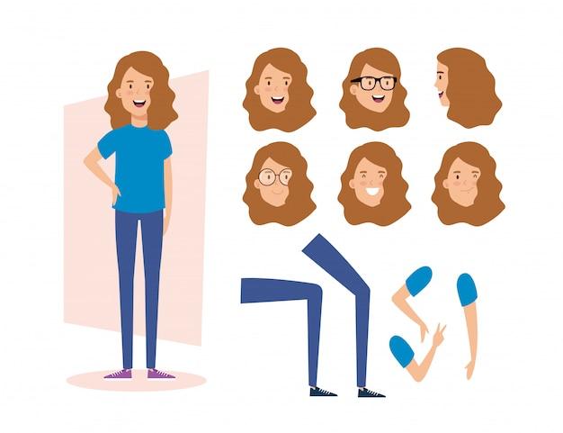 Giovane donna con personaggi di parti del corpo