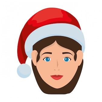 Giovane donna con cappello di natale