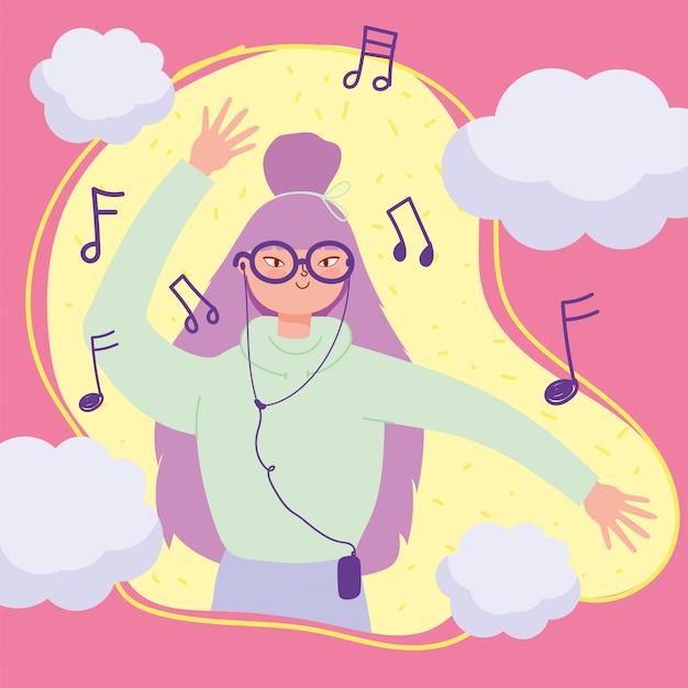 Giovane donna con le cuffie che ascolta la musica e l'illustrazione di dancing