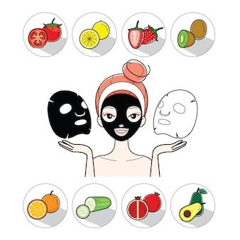Giovane donna con maschera facciale e icone di frutta