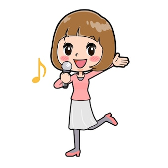 Una giovane donna con un gesto di appello song. personaggio dei cartoni animati.