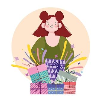 Giovane donna con l'illustrazione del fumetto di celebrazione del partito dei regali