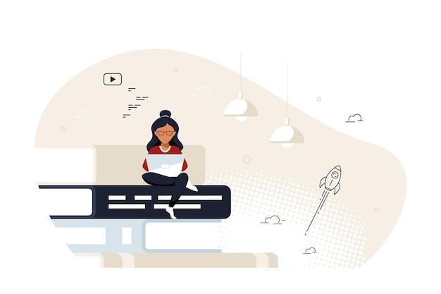 Giovane donna con laptop seduto su una grande pila di libri. concetto di formazione online, concetto di studio a distanza. illustrazione vettoriale di stile piatto.