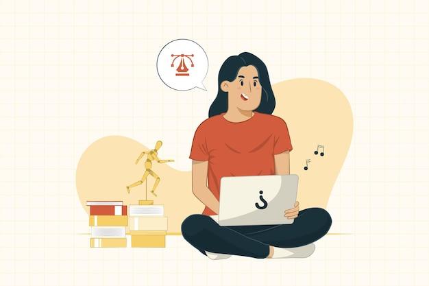 Giovane donna con il computer portatile che si siede sul pavimento che lavora dal concetto di casa