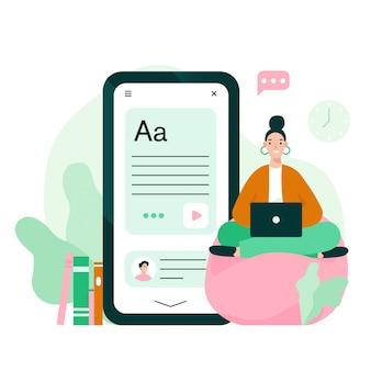 La giovane donna con il computer portatile prende il corso online. illustrazione di concetto di e-learning o formazione online.