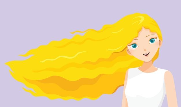Giovane donna con capelli ricci biondi lunghi che soffia nel vento