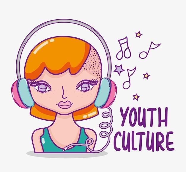 La giovane donna con l'acconciatura e gli accessori moderni vector la progettazione grafica dell'illustrazione