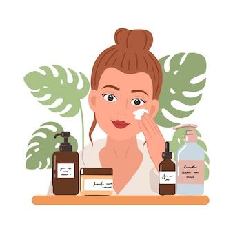 Giovane donna con prodotti cosmetici naturali in bottiglie e vasetti per la cura della pelle e foglie tropicali. skincare, trattamento, relax, home spa. routine di cura della pelle. illustrazione.