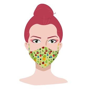 La giovane donna con i capelli rosa indossa la maschera concetto di coronavirus