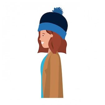 Giovane donna con abbigliamento invernale avatar personaggio