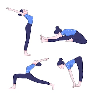 Giovane donna nella raccolta di posizioni yoga