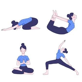 Giovane donna nella raccolta di posizioni yoga Vettore Premium