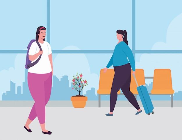 Giovani donne nel terminal dell'aeroporto, passeggeri al terminal dell'aeroporto con disegno di illustrazione vettoriale di bagagli