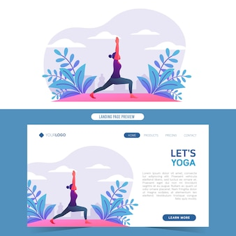 Giovani donne che fanno yoga in natura per l'atterraggio di web