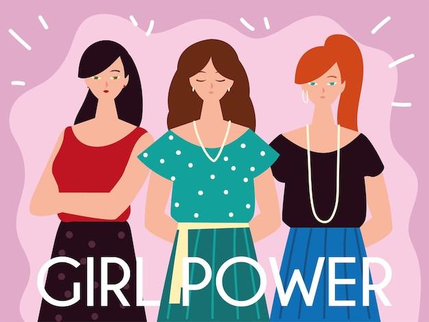 Carattere di potere della ragazza delle giovani donne e illustrazione di stile dell'iscrizione