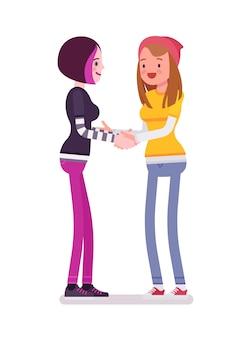 Handshaking delle giovani donne