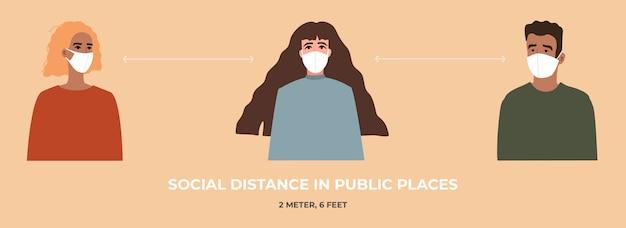 Giovani donne e uomini in maschera respiratoria medica mantengono una distanza sociale nei luoghi pubblici, a 2 metri o 6 piedi l'uno dall'altro. è l'ora del coronavirus.