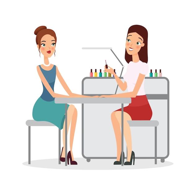 Giovani donne nel salone di manicure. manicure che fa procedura con smalto per unghie, manicure, salone di bellezza, ragazze in studio di manicure, stile piatto del fumetto.