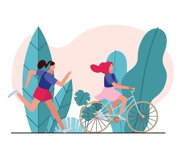 Giovani donne che corrono e giro in bicicletta caratteri illustrazione design