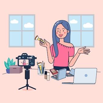 Le giovani donne vendono cosmetici attraverso i canali dei social media per un reddito extra. utilizzo di una videocamera per lo streaming di video. illustrazione piatta desig