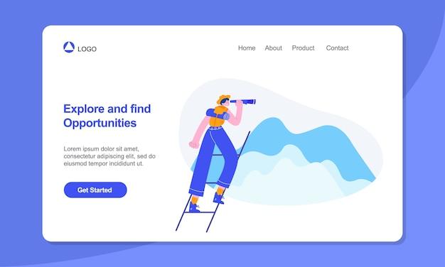 Giovani donne che usano l'illustrazione di concetto di opportunità di ricerca binoculare adatta per poster banner web e pagina di destinazione