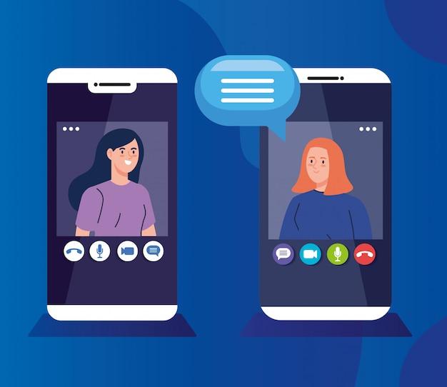 Giovani donne in videoconferenza in smartphone