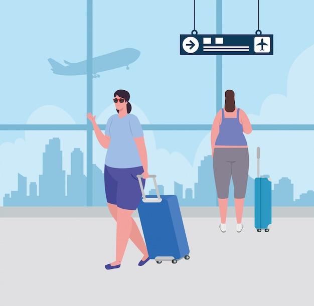 Giovani donne con bagagli al terminal dell'aeroporto, femmina di passeggeri al terminal dell'aeroporto con disegno di illustrazione vettoriale di bagagli