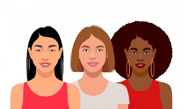 Giovani donne con diversi colori della pelle