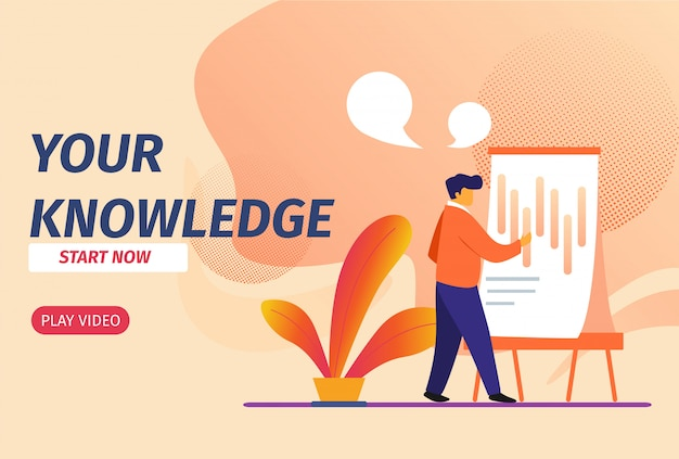 La tua conoscenza inizia ora banner orizzontale. giovane che impara i grafici sulla scheda del grafico.