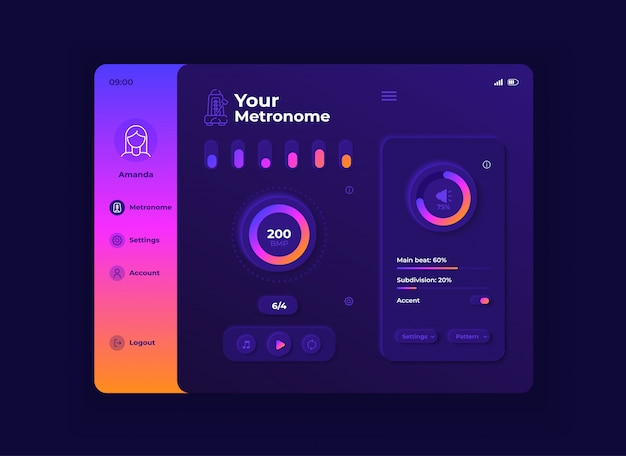 Il tuo modello di interfaccia per tablet con metronomo. layout di progettazione della modalità notturna della pagina dell'app mobile