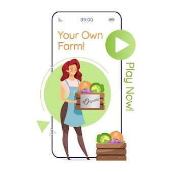 Schermata dell'app per smartphone della tua fattoria. gioco agricolo. donna con verdure. display per telefoni cellulari con design piatto. interfaccia carina telefono applicazione