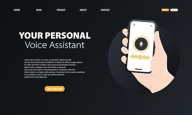 Il tuo assistente vocale personale sull'illustrazione dello smartphone