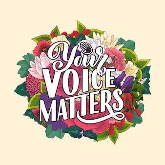 La tua voce conta lettere di citazione astratte