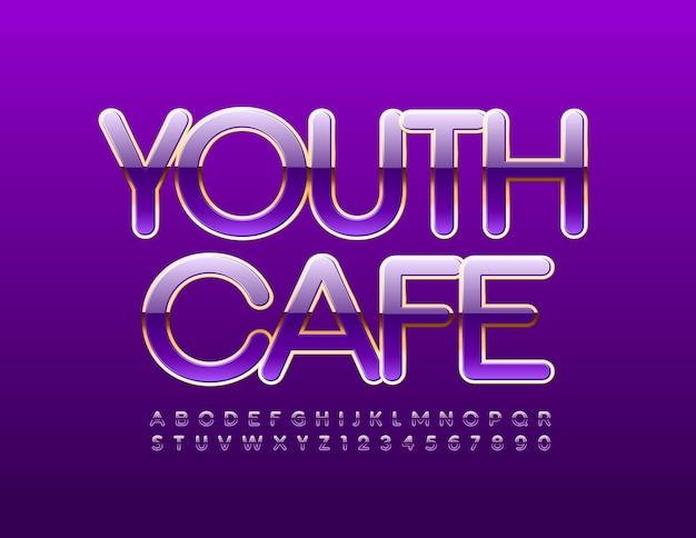 Lettere e numeri dell'alfabeto viola e oro lucidi della gioventù cafe impostano il carattere di stile di lusso