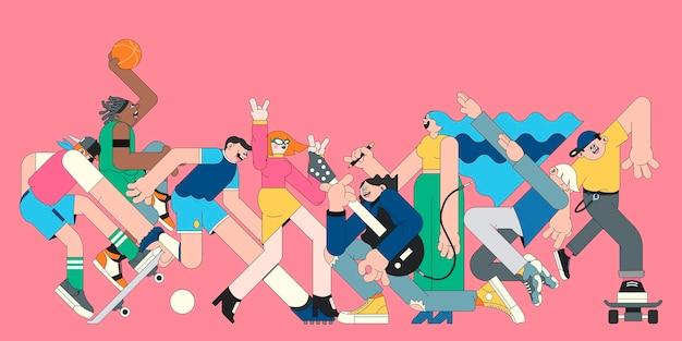 Personaggi giovanili su banner rosa vettore