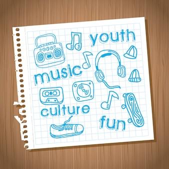 Disegno della cultura giovanile sopra illustrazione vettoriale sfondo in legno